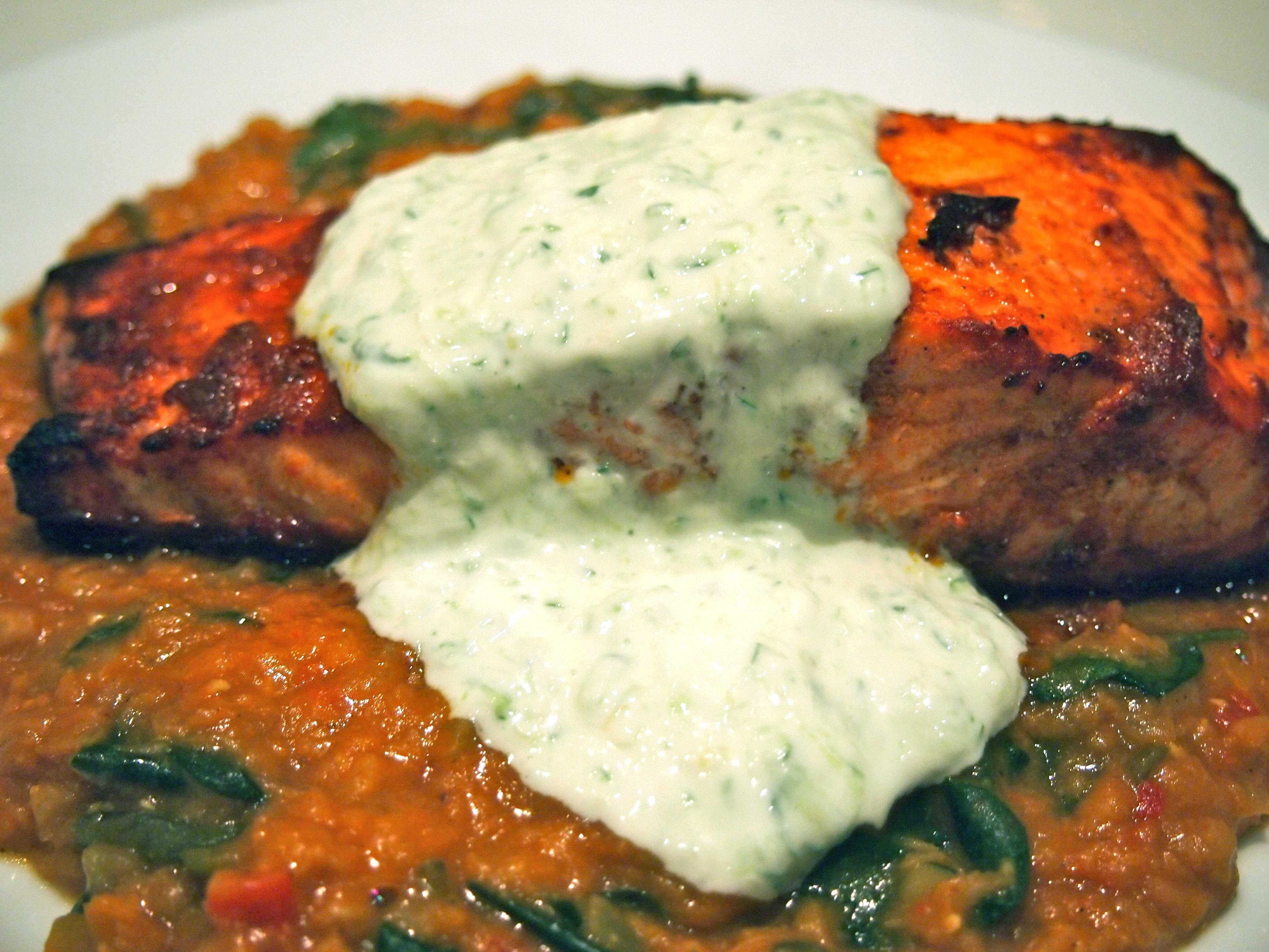 Tandoori Salmon with Red Lentil Dhal & Raita | Mustard With Mutton