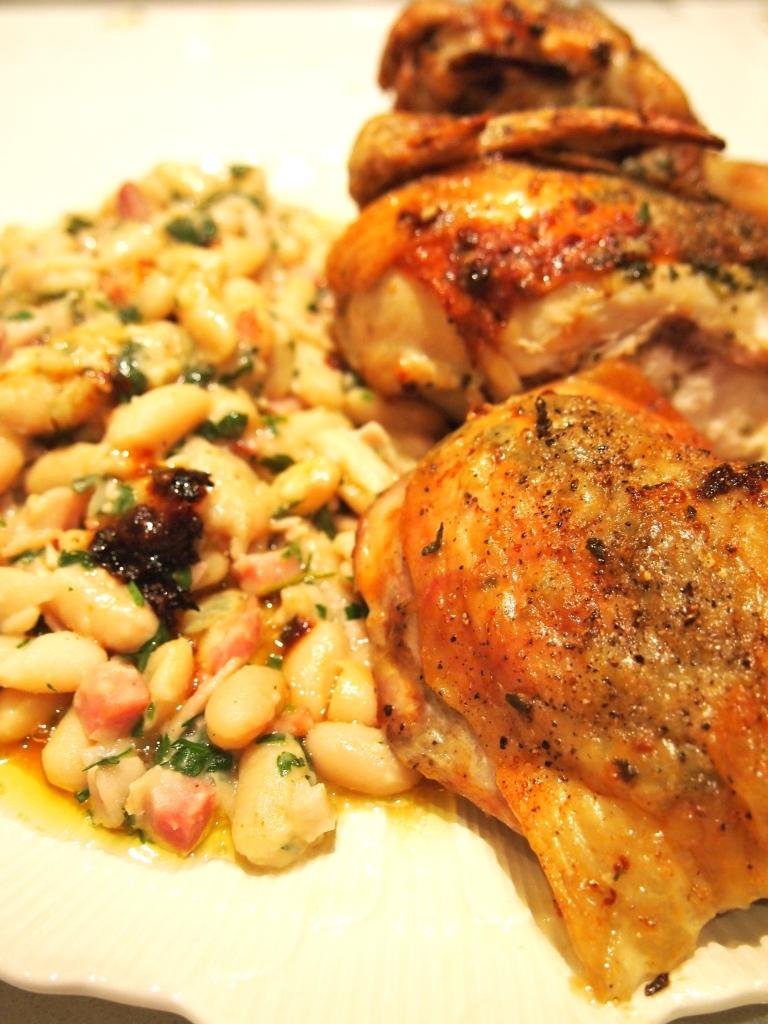 Sage & Garlic Spatchcocked Chicken with Braised White Beans | Mustard ...