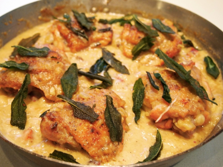 Chicken with Pancetta, Sage & White Beans