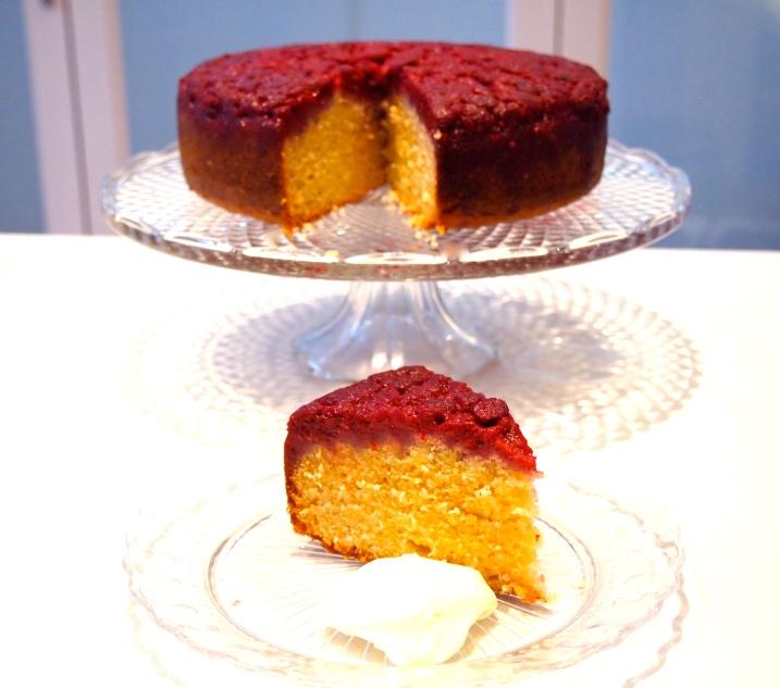Raspberry & Almond Upside-Down Cake