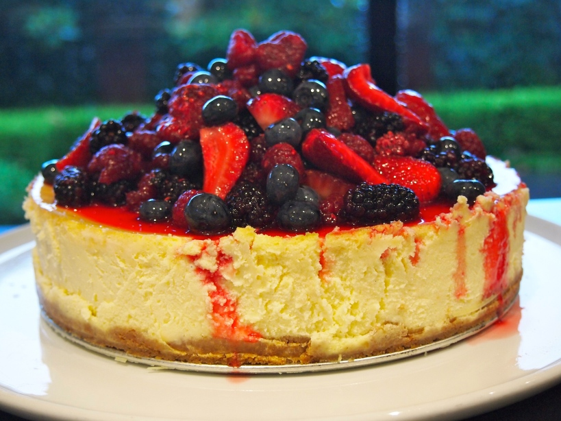 New Years Eve Dessert - Classic Cheesecake with Mixed Berry Topping
