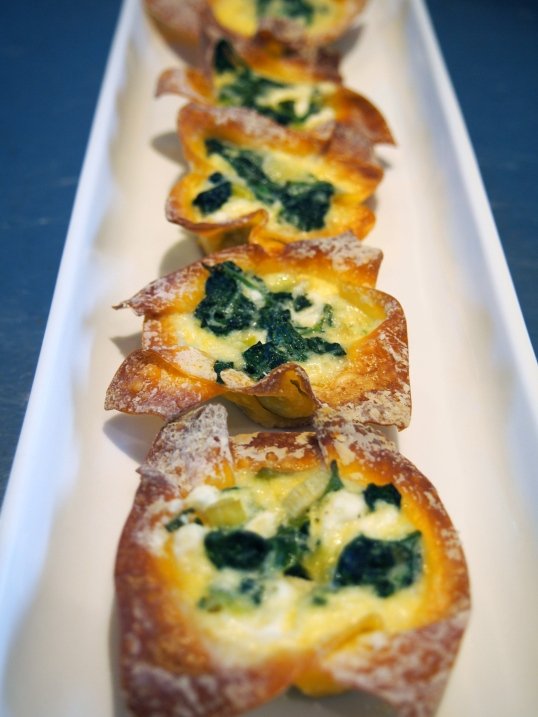 Spinach & Fetta Mini Wonton Wrapper Quiches