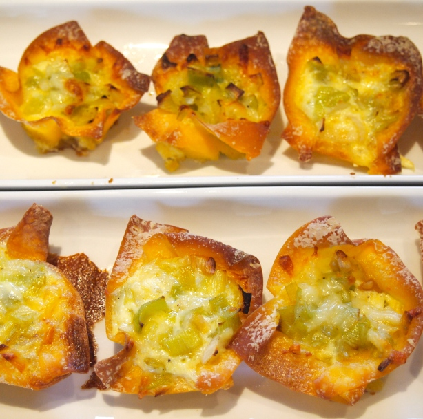 Leek & Gruyere Mini Wonton Wrapper Quiches
