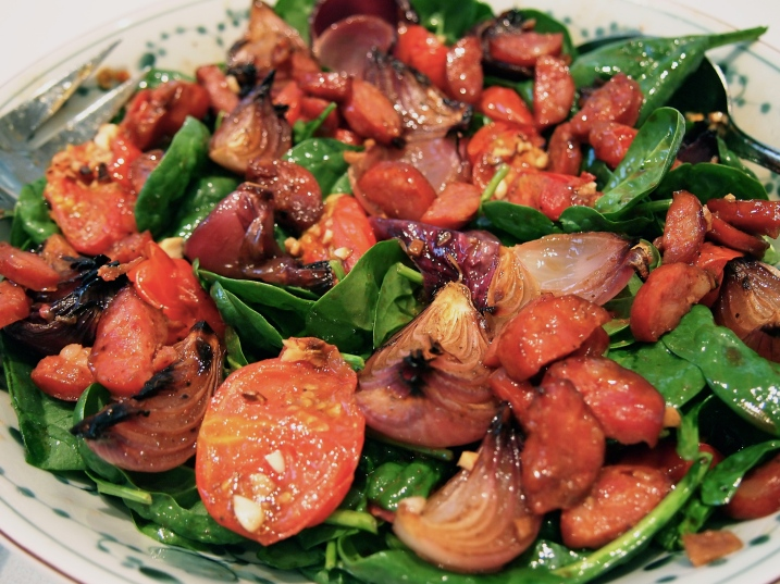Warm Spinach Salad with Roasted Onions, Tomatoes & Chorizo