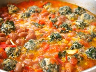 Ricotta Gnocchi with Tomato & Borlotti Bean Sauce