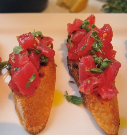 Tuna Crostini with Fennel Seeds, Chilli & Marjoram