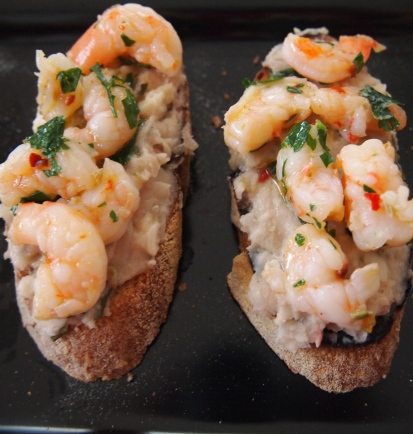 Prawn & Cannellini Bean Crostini