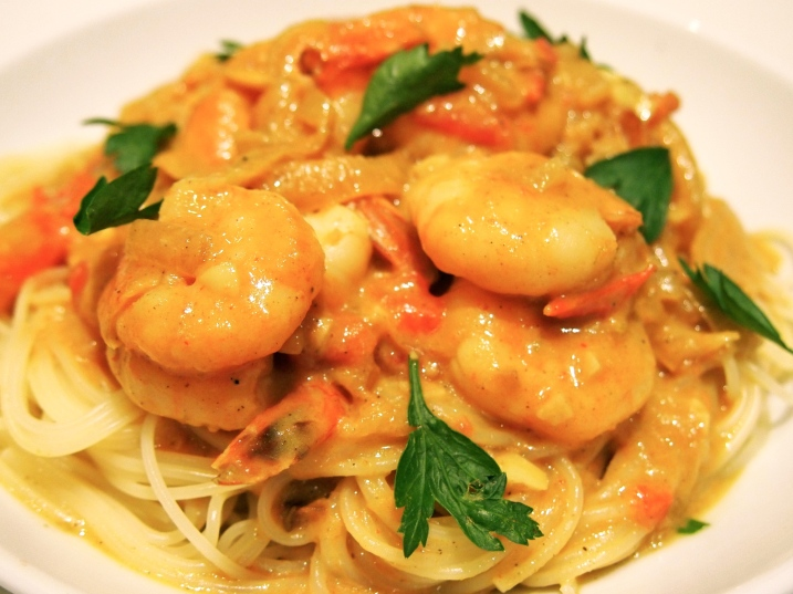 Spicy Prawns with Angel Hair Pasta