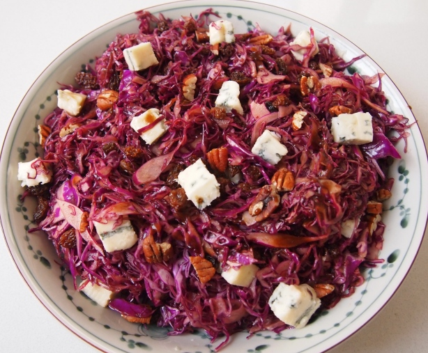 Shredded Red Cabbage,Raisin & Gorgonzola Salad with Balsamic Dressing