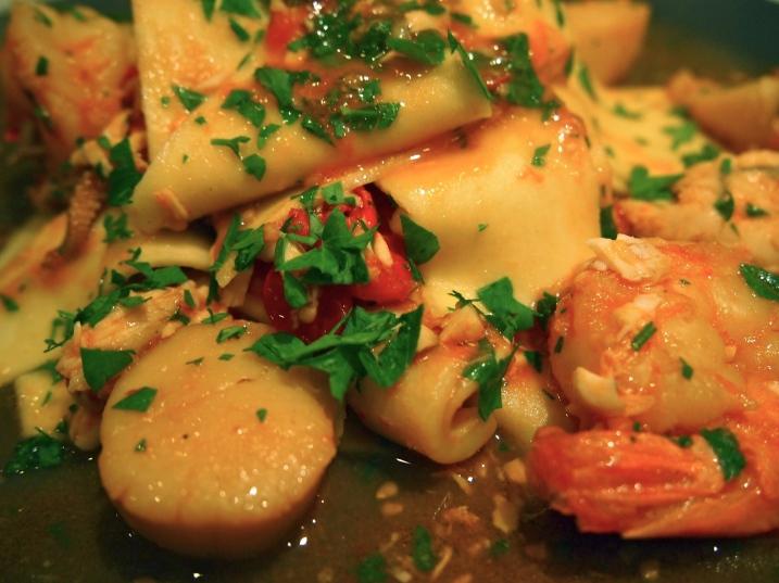 Rag Pasta with Seafood Sauce - Stracci con Ragu di Pesce