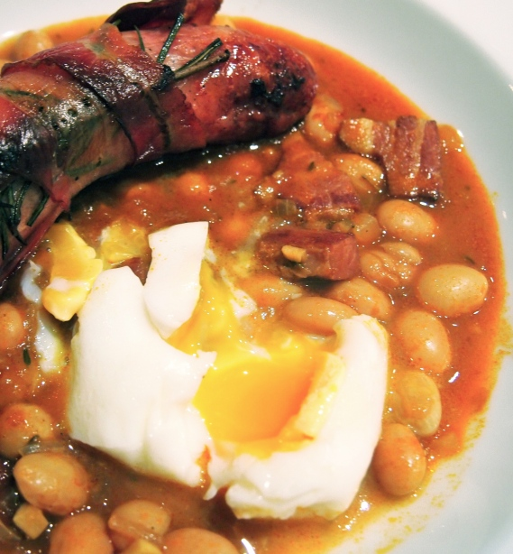 Braised Borlotti Beans with Sausages & Poached Eggs