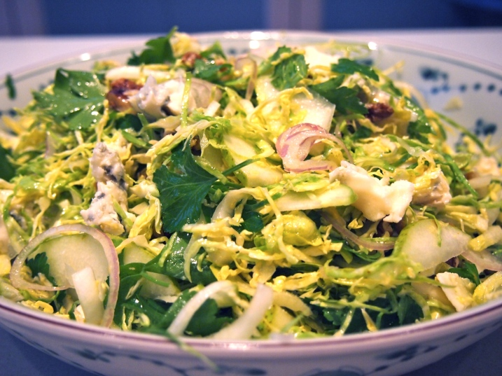 Shaved Brussels Sprouts, Walnut & Gorgonzola Salad - A Perfect Side Dish for Thanksgiving