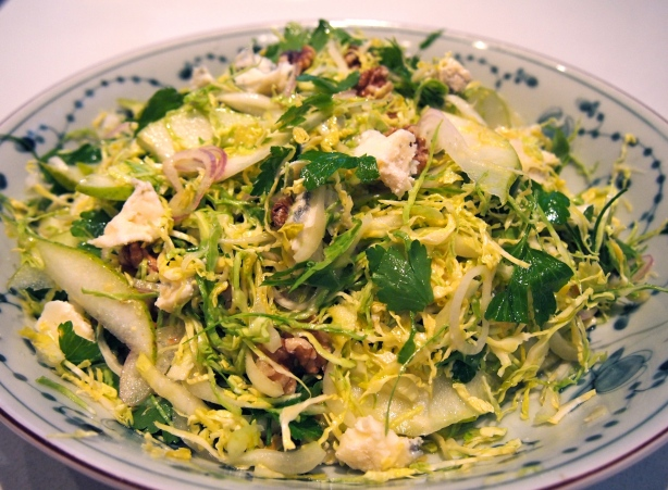 Thanksgiving Side Dish - Shaved Brussels Sprouts, Walnut & Gorgonzola Salad
