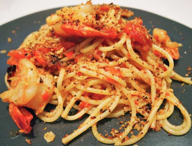 Spaghetti with Simon Hopkinson's Piedmontese Peppers, Prawns & Pangrattato