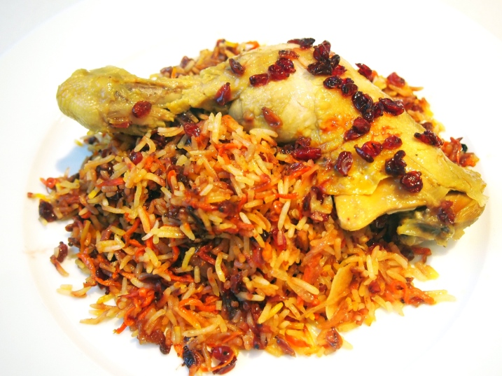 Shirin Polow - Persian Festive Jewelled Rice with Saffron Poached Chicken