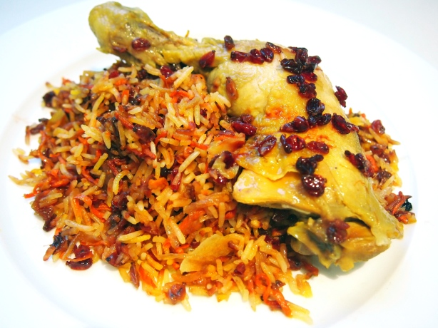 Shirin Polow - Persian Jewelled Rice with Saffron Poached Chicken