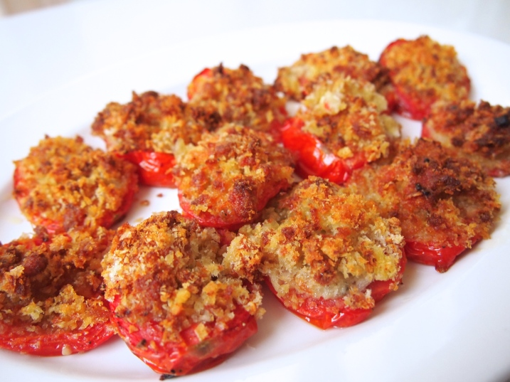 Roast Tomatoes with Garlic, Gorgonzola & Herbs