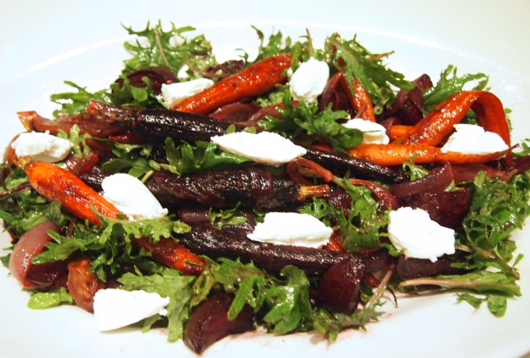 Roast Beetroot, Carrot & Red Onion Salad with Goats Curd
