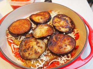 Assembling Veal & Eggplant Parmigiana
