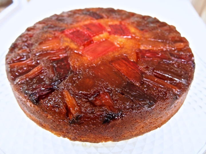 Caramelized Rhubarb Upside Down Cake