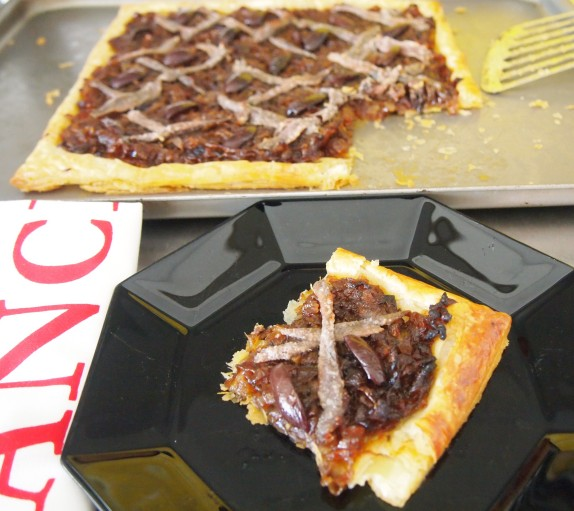 French Caramelised Onion, Anchovy & Olive Tart