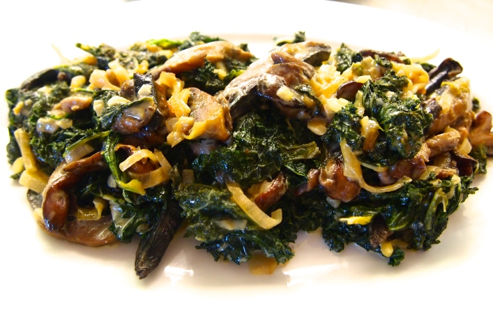 A Fantastic Thanksgiving Side Dish - Miso Creamed Kale with Shiitake Mushrooms