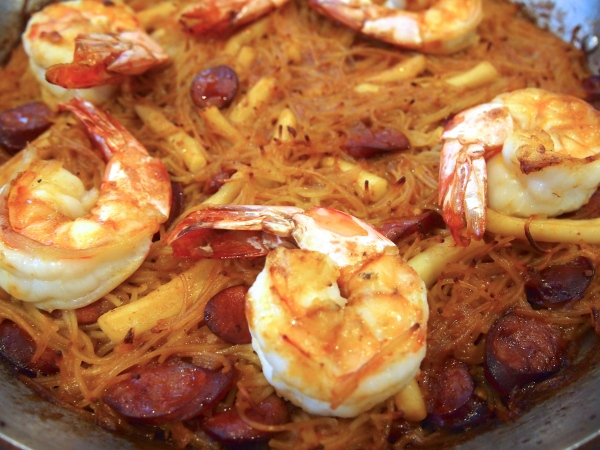 Paella made with Noodles