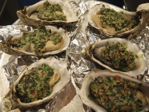 Oyster Rockefeller before Baking