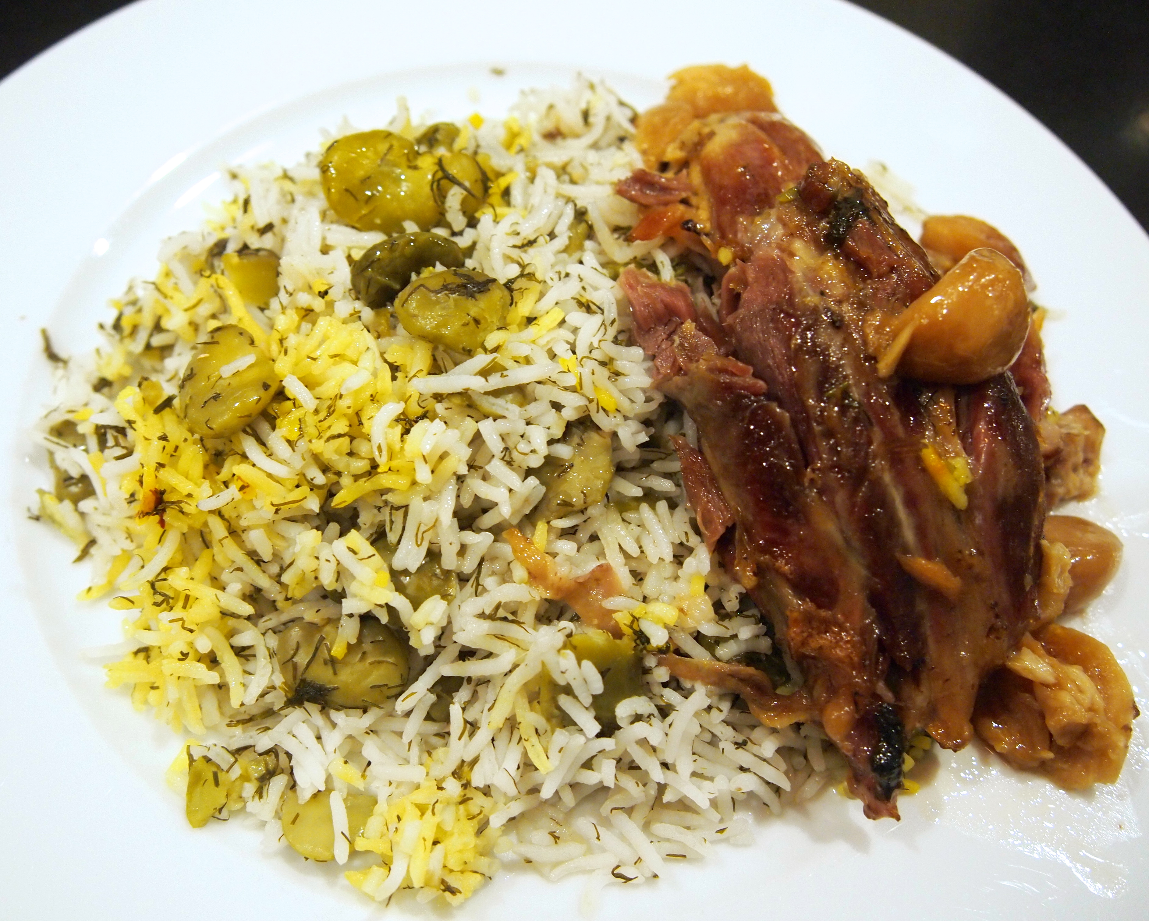 Baghali polow persian broad bean dill rice with braised lamb persian dill broad bean polow with braised lamb shanks forumfinder Choice Image
