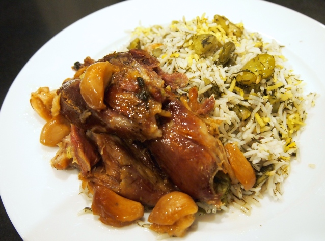 baghali Polow - Persian Broad Bean & Dill Rice with Braised Lamb Shanks