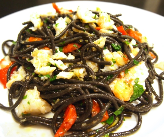 Crab Pasta with Chilli, Garlic & Squid Ink Linguini