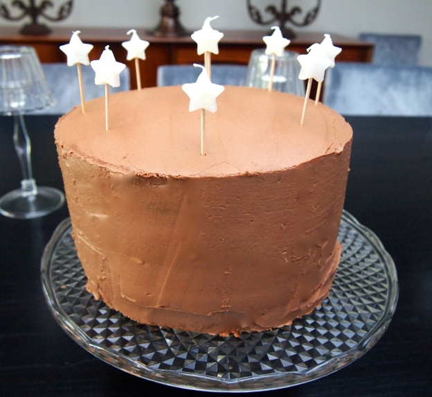 3 Layer Yellow Cake with Chocolate Buttercream Frosting