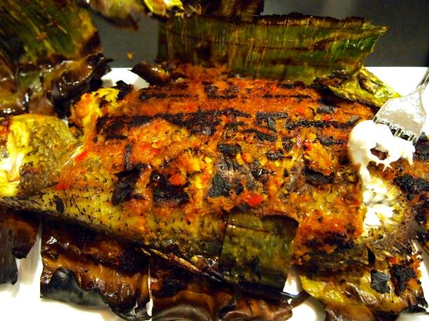 Ikan Bakar - Grilled Fish in Banana Leaves with Samabal Marnade