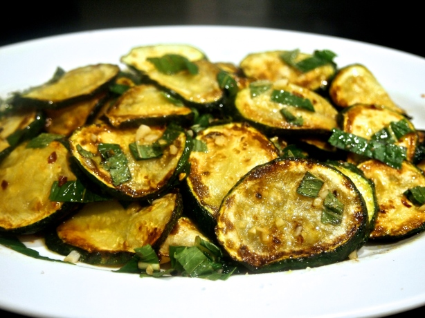 An Italian Side Dish - Marinated Fried Zucchini with Mint