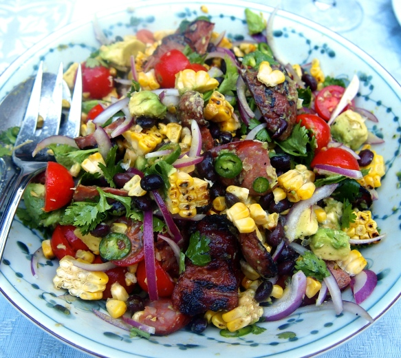 Best Ever Summer Salad - Grilled Chorizo, Corn & Black Bean Salad with Jalapeño Dressing