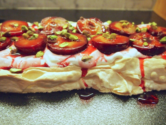 A Light Christmas Dessert - Roasted Plum & Yogurt Pavlova