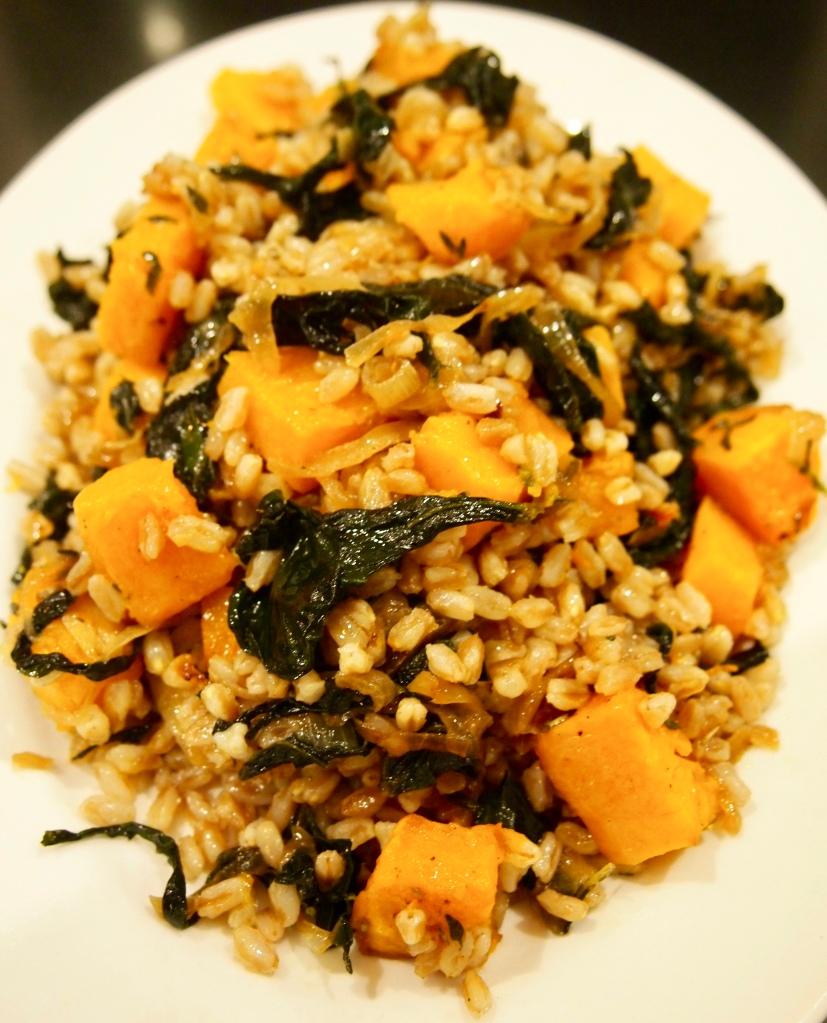 Suzzane Goin's Farro with pumpkin & Slow Cooked Cavolo Nero