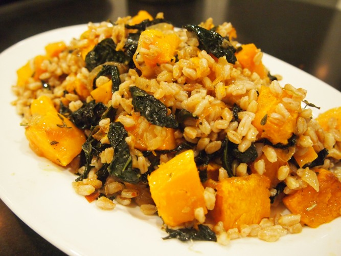 Suzanne Goin's Farro with pumpkin & Slow Cooked Cavolo Nero