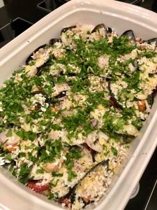 Mussel, Potato & Rice Tray Bake